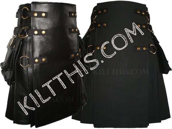 Simple Black Leather Kilt & Black Snap Kilt Combo Set