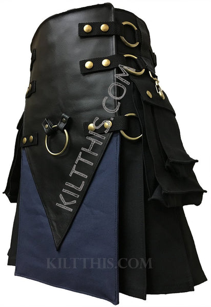 Customize Black Navy Blue Utility Kilt Leather V Shape Metal Ring Design Interchangeable