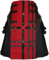 Interchangeable Black Red Canvas Cargo Kilt Leather Double Cross Design