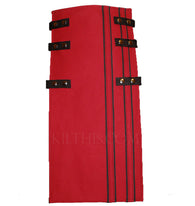 Interchangeable Utility Kilt Front Panel Red with Black Stripes