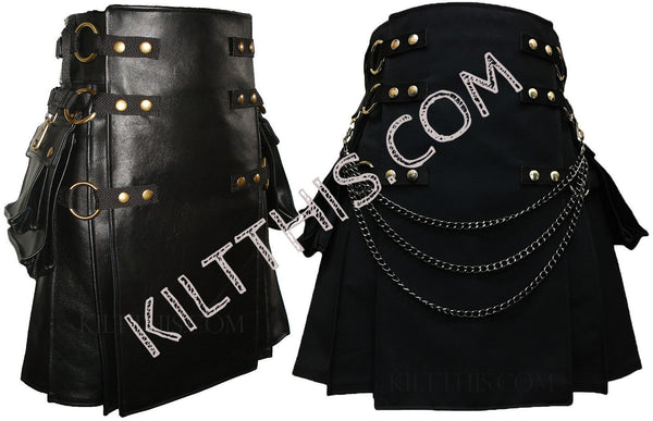 Interchangeable Black Leather Kilt & Black Snap Kilt Combo