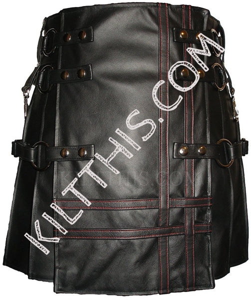 Interchangeable Badpiper Baddie Black Leather Double Cross Kilt