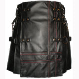 Interchangeable Utility Kilt Front Panel Black Leather Double Cross Baddie Apron