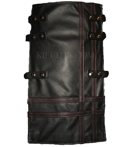 Interchangeable Utility Kilt Front Panel Black Leather Double Cross