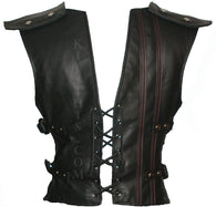 Lace Up Baddie Black Leather Vest