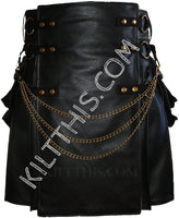 Simple Black Leather Kilt & Black Snap Kilt Combo Set Adjustable Interchangeable