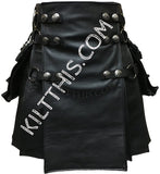 Simple Interchangeable Black Leather Kilt