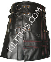 Customize Black Leather Kilt Lace Up Leather Vest Leather Sleeves Leather Stripes