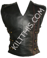 Customize Black Leather Utility Kilt Leather Vest Leather Sleeves Suit