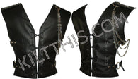 Interchangeable Black Leather Vest Lace Up Front