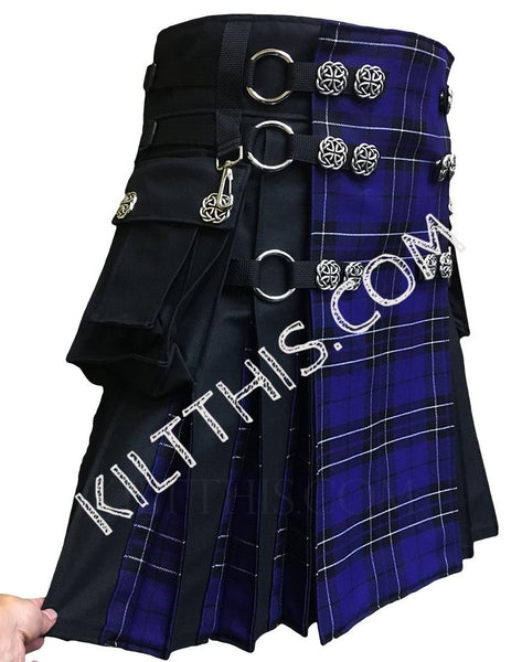 Simple Black Canvas Cargo Utility Kilt Purple Tartan plus Flash Pleats, Conchos, and Kilt Chains