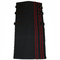 Interchangeable Utility Kilt Front Panel Black with Red Stripes