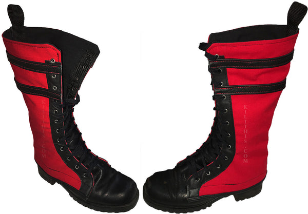 Boot Covers - Black Leather & Stripes