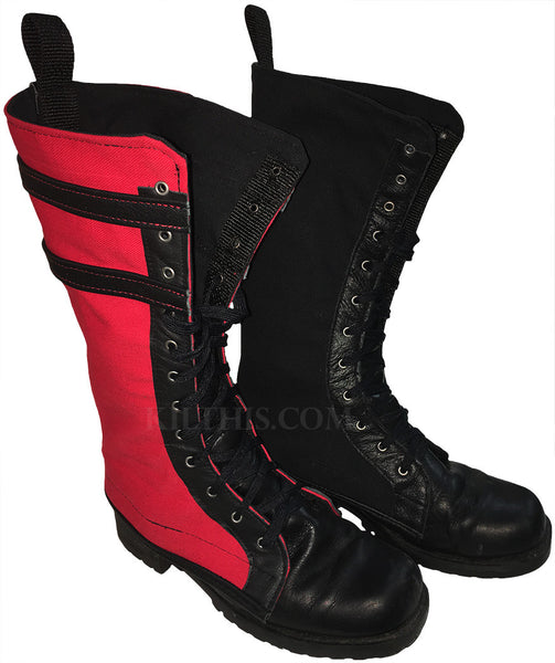 Boot Covers - Combination One Black and One with Leather & Stripes