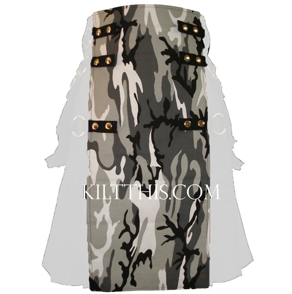 Interchangeable Utility Kilt Front Panel Urban Snow Camouflage Snap Kilt Design