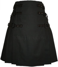 Interchangeable Black Soft Cotton Cargo Utility Kilt