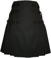Black Soft Cotton Cargo Utility Kilt Interchangeable