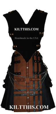 Interchangeable Black Canvas Vest plus Black Canvas Utility Kilt Brown Cross Design Set