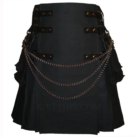 Interchangeable Black Canvas Cargo Utility Kilt
