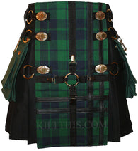 Interchangeable Black Kilt Black Watch Tartan Black Cross Design