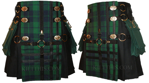Black Kilt Black Watch Tartan Black Cross Design Interchangeable