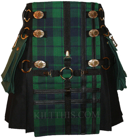 Interchangeable Black Canvas Black Watch Tartan Cargo Utility Kilt Cross Design