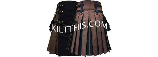 Customize Brown Black Utility Kilt with Flash Pleats Adjustable Interchangeable