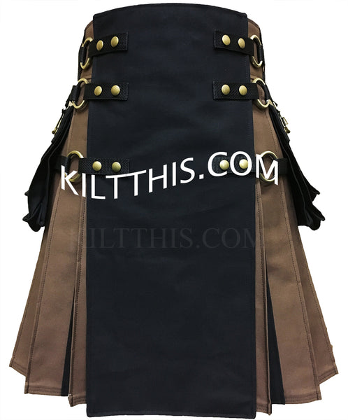 Customize Brown Black Utility Kilt with Flash Pleats