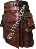 Customize Worn Brown Leather Utility Kilt Canvas Boot Covers Set Interchangeable