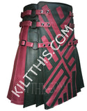 Interchangeable Star Wars Inspired Leather Kilt Lace Up Leather Vest with Priest Collar and Kilt