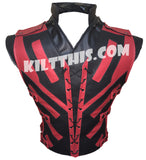 Star Wars x Deadpool Inspired Lace Up Leather Vest Custom Design and Priest Collar Set