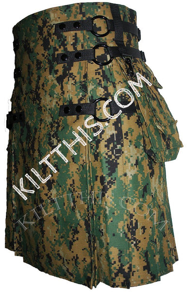 Customize Digital Camouflage Cargo Kilt Interchangeable