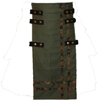Interchangeable Utility Kilt Front Panel Army Green Cotton Digital Camo Double Cross Snap Design