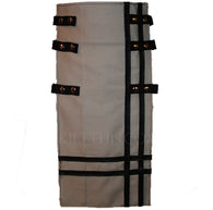 Interchangeable Utility Kilt Front Panel Gray Black Leather Double Cross Snap Design