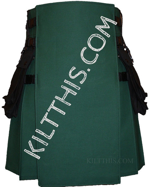 Interchangeable Green and Black Canvas Hiker Utility Kilt