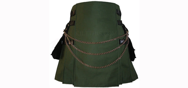 Green Soft Cotton Hiker Kilt