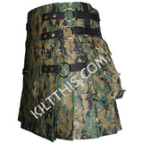 Interchangeable Digital Camouflage Cargo Kilt