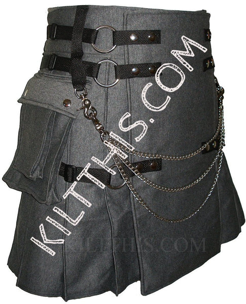 Customize Gray Fleece Cargo Utility Kilt Interchangeable