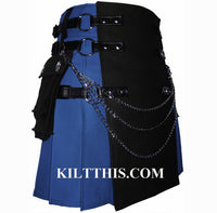 Royal Blue Black Canvas Cargo Utility Kilt Interchangeable
