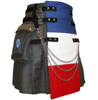 Grey Sweatshirt Fleece Cargo Utility Kilt, French Flag Front Panel, and Kilt Chains