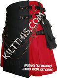 Red and Black Canvas Cargo Utility Kilt