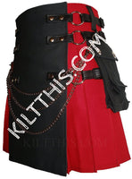 Simple Red Black Kilt Leather Straps Skull Conchos and Kilt Chains