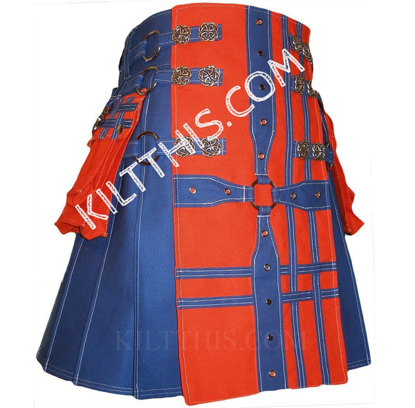 Simple Royal Blue Kilt Orange Blue Medieval Cross Design White Stitching Celtic Knot Conchos and Double Cross Pocket Tops
