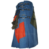 Interchangeable Blue Jean Denim Patch Cargo Utility Kilt