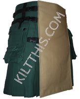 Simple Green Khaki Canvas Hiker Kilt Design