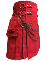 Red Canvas Cargo Utility Kilt Red Straps Interchangeable