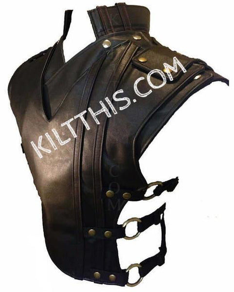 Simple Baddie Black Leather Vest and Priest Collar Set