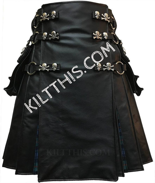 Simple Black Leather Kilt Murray of Atholl Ancient Tartan Flash Pleats Skull Cross Bones Conchos Leather Straps