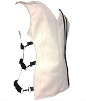 The White Leather Baddie Vest Metal Latch Design Adjustable Interchangeable Custom Fit
