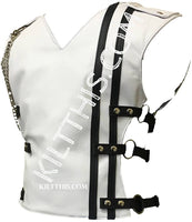 Simple White Leather Baddie Vest Hiker Design